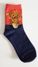 Sunflowers Vincent Van Gogh Socks Gift Fine art Size 4-7 UK 37-41 EUR Fashion UK