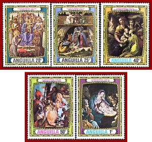 Anguilla 1970 Christmas paintings, Botticelli, Reni, Mazzola, Tiepolo SG 99-103