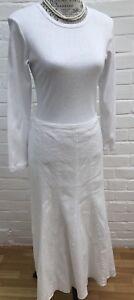 Marks & Spencer Godet Skirt White Linen Blend Size 14 Flare Full Wedding