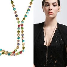 Swarovski Element Crystal Multicolor 14k Gold Plated Long Chain Necklace Jewelry