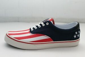 Polo Ralph Lauren Mens Size 10 Red White Blue Thorton USA Flag Lace Up Loafers