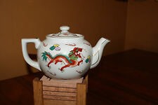 White porcelain with Red Dragon Teapot Asian Oriental Pattern Design Round