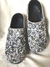Sanita Danish Clogs Black Floral Nurse Professional Shoes Women's 35