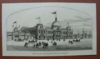 L6e) Holzstich Australien 1887 Adelaide Jubiläum International Ausstellung 13x25