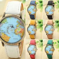 Unisex Denim Leather World Map Dial Analog Quartz Wristwatch Women Casual Watch