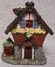 """Garden Accent Fairy or Gnome Battery Lighted Cottage House NEW 6 3/4"""" tall"""