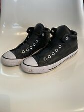 Black Leather Converse Mid Rise Size  7