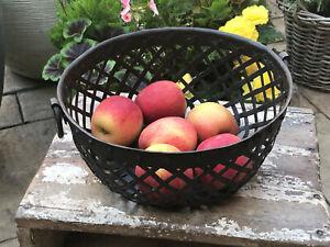 Vintage Indian Steel Lattice Bowl Basket Vegetable Fruit Storage Kitchen 1