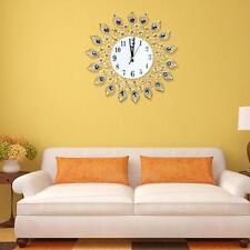 Diamond Peacock Metal Art Wall Clock Living Room Wall Watch Home Wedding 37cm