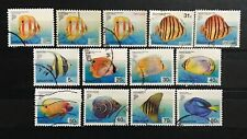 Singapore stamps 2001 Fish Definitives used 13v (includes new denom & adh)