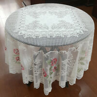 White Vintage Lace Floral Tablecloth Round Table Cloth Cover Wedding Party 70""