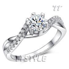 TTstyle RHODIUM 925 Sterling Silver 0.5 Carat Engagement Wedding Ring Size 5-8
