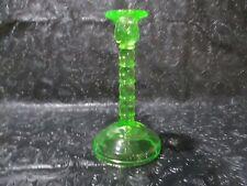 Vintage Cambridge Vaseline Uranium Glass Single Light Candle Stick #1595 NICE!