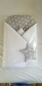 BlueberryShop minky cotton  car seat  Swaddle Wrap/Blanket  Baby, grey stars
