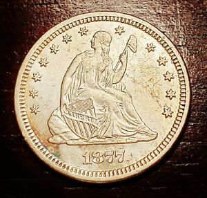1877-S Seated Liberty Quarter - Attractive High Grade AU / UNC Detail