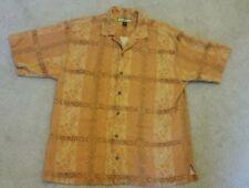 TOMMY BAHAMA MEDIUM ORANGE mens SHORT sleeve camp casual  Hawaiian print shirt