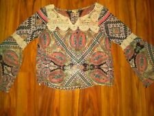 Women's Lily White Multi-Colored Floral Long Sleeve Lace Trim Blouse Top Size S