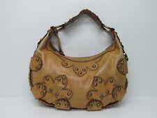Isabella Fiore Yellow Tan Leather Studded Shoulder Bag Handbag