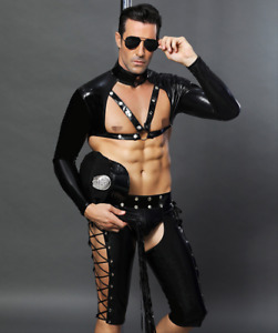 Sexy Mens police cop outfit clubwear Policeman Spandex PVC outfit Fancy dress