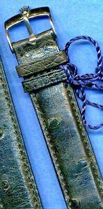 GENUINE BLACK OSTRICH STRAP BAND 18mm & GENUINE ROLEX STEEL BUCKLE TANG
