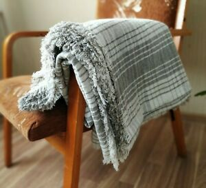 Pure LINEN THROW BLANKET heavy plaid checkered striped 100% flax double Twin