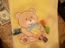 Taggies YELLOW Teddy Bear Applique SOFT Baby Blanket 30x40 Seam Tags EUC