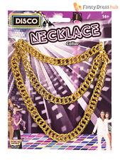 Mens Disco Man Chain Adults Golden Necklace Gangster Pimp Fancy Dress Accessory