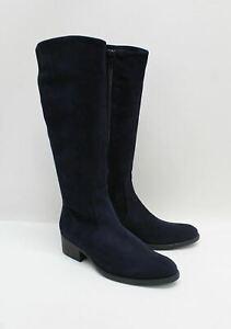 JOHN LEWIS Ladies Tirol Navy Blue Suede Inner Zip Mid Calf Boots UK4 EU37 NEW