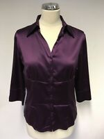 HOBBS DEEP PLUM SILK 3/4 SLEEVE BLOUSE SIZE 10