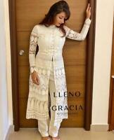 White plazzo Suit designer Anarkali Pakistani salwar Kameez Party wear dress