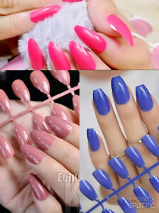 24/12/1 COLOURED SHORT EUROPEAN FULL COVER FALSE NAILS - 28 COLOURS AVAILIBLE