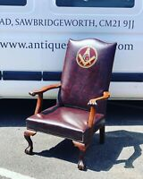 Masonic Armchair Upholstered In A Faux Brown Leather, On Ball & Claw Feet.