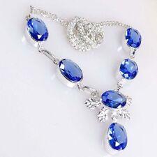 Superbe Collier Artisanal Quartz saphir Bleu Plaqué Argent 925 Str PROMO