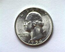 """1954-S WASHINGTON SILVER 25 CENTS -""""GOITER"""" DIE BREAK ERROR- GEM+ UNCIRCULATED"""
