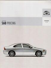 Volvo S60 Specification 2004-05 UK Market Brochure S Sport SE 2.0T 2.5T T5 D5