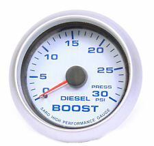 Diesel Boost Gauge 30psi Blue Back Light Silver Rim 65mm