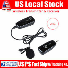 2.4G Wireless Microphone Lapel-Style Receiver&Transmitter Auto Pairing w/Battery