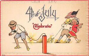 H95/ Patriotic Postcard c1910 Fourth of July 4th Kids Fireworks 219