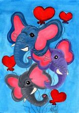 Elephant Heart balloons original ACEO mini Kim Loberg Valentine fantasy art EBSQ