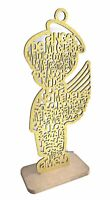 "12"" Baptism Gold Glitter Angel Boy Wood Cross Prayer Religion Recuerdos Bautizo"