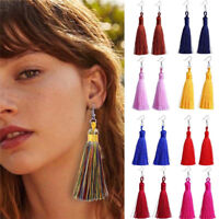 Boho Women Fashion Bohemian Earrings Jewelry Long Tassel Fringe Hook Drop Dangle