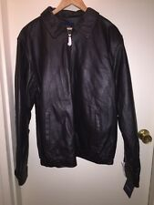 CROFT & BARROW Men's Leather Bomber Jacket Big & Tall BROWN Size LT NEW Tags