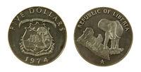 s1157_2)  LIBERIA 5 DOLLARS 1974 ELEPHANT SILVER