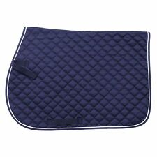 EquiRoyal Square Quilted Cotton Comfort English Saddle Pad Navy