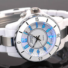 OHSEN Mens Womens 7 Mode Light Sport Military Army Watch Quartz Waterproof White