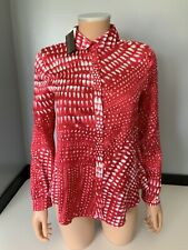 Roberto cavalli New 100% Silk Blouse Top long Sleeve Size Xs Uk 6 Bnwts Red