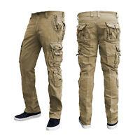 Mens Cargo Work Trousers Security  Army Combat 6 Pocket Black Khaki Beige