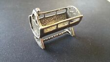 VINTAGE SOLID SILVER - BABY CRIB MINIATURE,DOLLHOUSE,STAMPE -MADE IN ITALY-