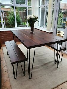 Industrial Hair pin dining table and bench set- solid wood- rustic- vintage