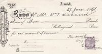Alnwick 1891 Received of Mr Hindmarsh Re Income Stamp Receipt Ref 38971